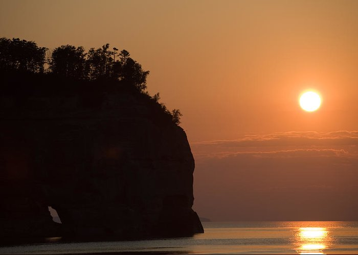 Lake Greeting Card featuring the photograph Lake Superior Sunset by Sebastian Musial