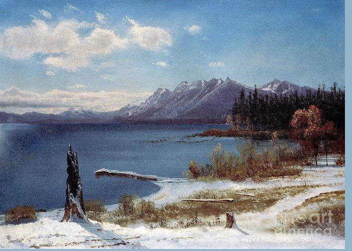 Tahoe Greeting Card featuring the painting Lake Tahoe by Albert Bierstadt