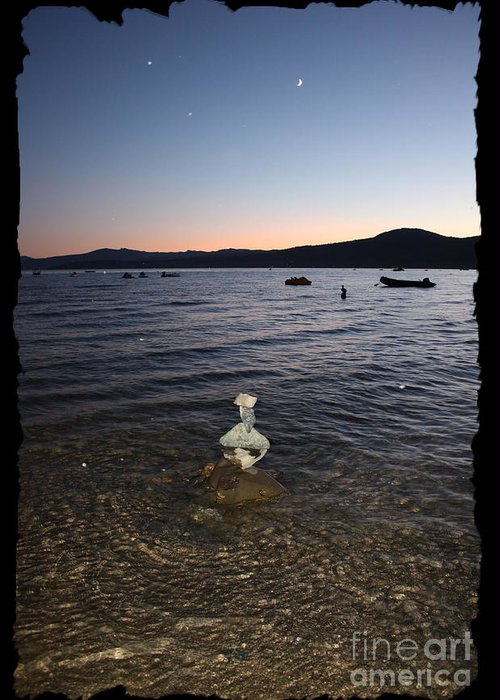 Lake Tahoe Greeting Card featuring the photograph Lake Tahoe Sunset With Rocks And Black Framing by Carol Groenen