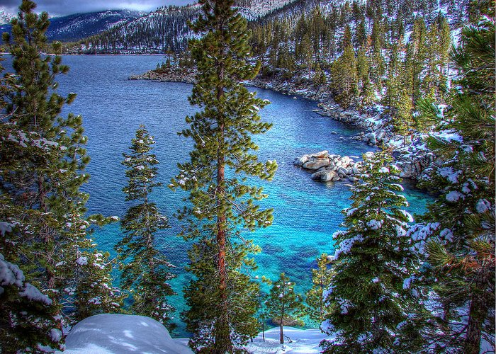 Lake Tahoe Greeting Card featuring the photograph Lake Tahoe Winterscape by Scott McGuire
