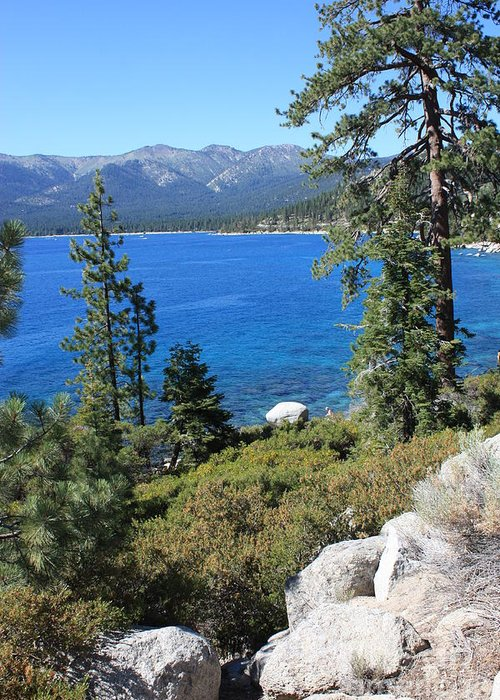 Lake Tahoe Greeting Card featuring the photograph Lake Tahoe With Mountains by Carol Groenen