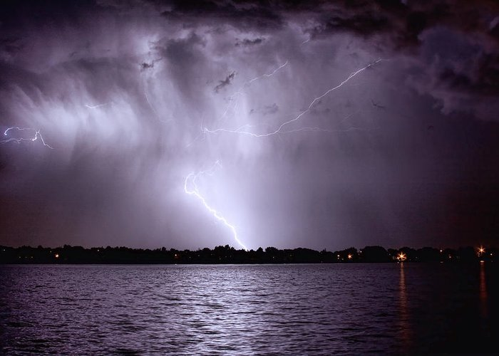 Lightning Greeting Card featuring the photograph Lake Thunderstorm by James BO Insogna