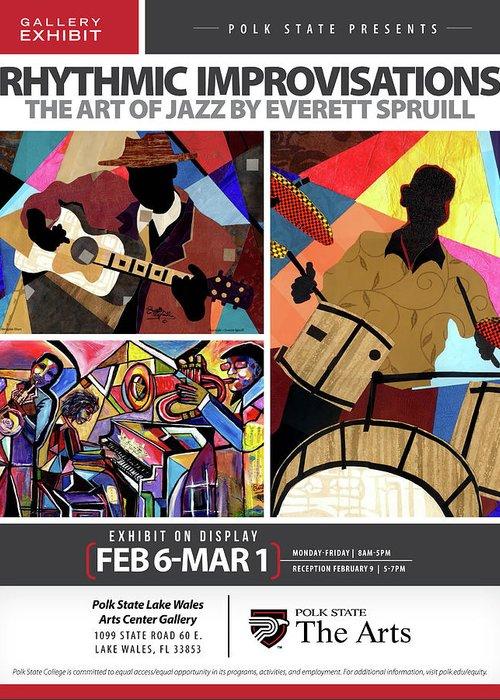 Everett Spruill Greeting Card featuring the mixed media Rhythmic Improvisations - The Art of Jazz by Everett Spruill