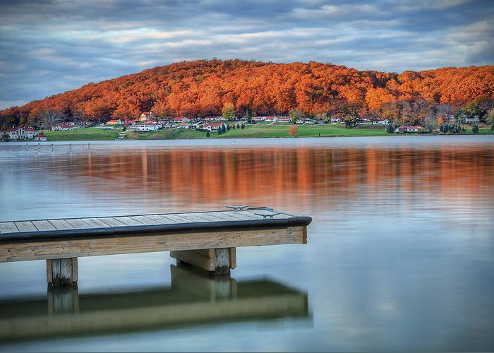 Lake Greeting Card featuring the photograph Autumn Red At Lake White by Jaki Miller