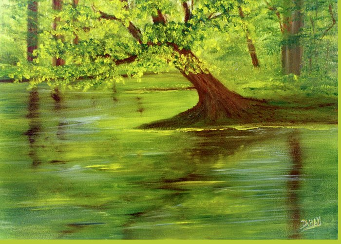 Lake Wilson Greeting Card featuring the painting Lake Wilson Hawaii #35 by Donald k Hall