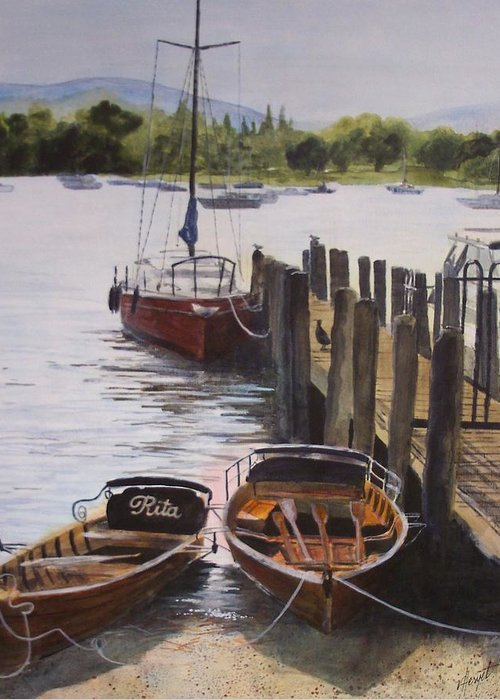 Boats Greeting Card featuring the painting Lake Windermere by Victoria Heryet