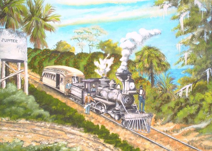 Florida History Greeting Card featuring the painting Lake Worth And Jupiter by Dennis Vebert