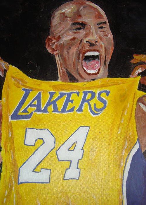 Kobe Bryant Greeting Card featuring the painting Lakers 24 by Daryl Williams Jr
