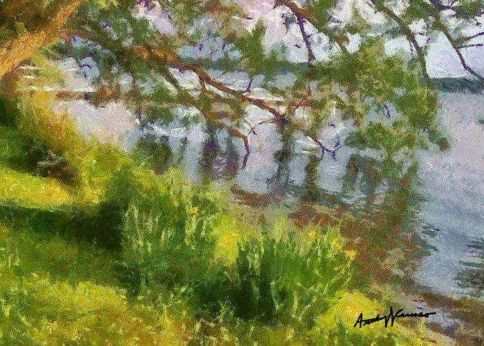 Lake Greeting Card featuring the painting Lakeshore by Anthony Caruso