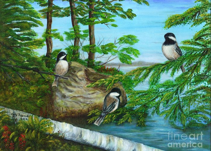 Chickadees Greeting Card featuring the painting Lakeside Chickadees by Judy Filarecki