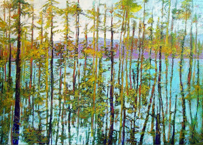 Landscape Greeting Card featuring the painting Lakeside by Dale Witherow