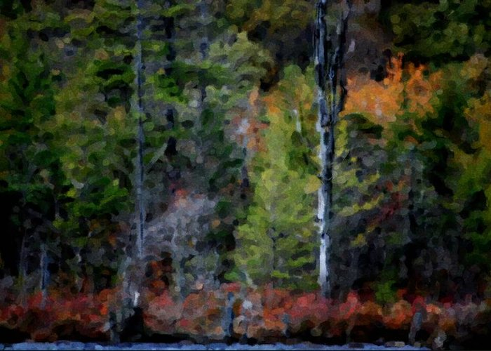 Digital Photograph Greeting Card featuring the photograph Lakeside In The Autumn by David Lane