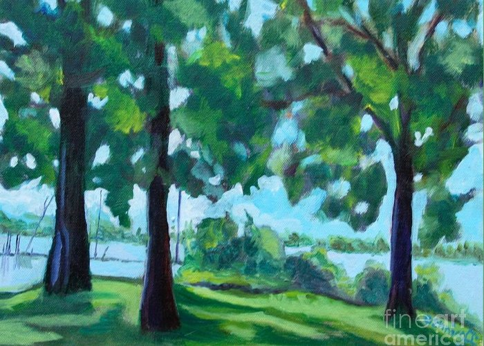 Landscape Greeting Card featuring the painting Lakeside Shadows by Jan Bennicoff