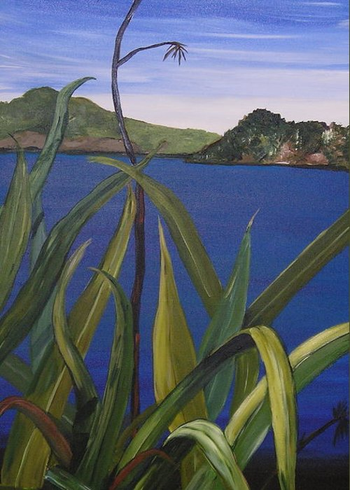 Blue Flax New Zealand Fauna Sky Native Electric Hills Greeting Card featuring the painting Lakeside by Sher Green