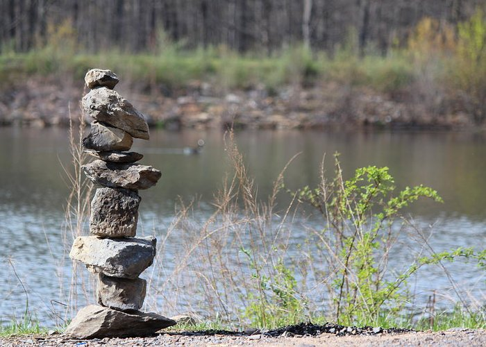 Art Greeting Card featuring the photograph Lakeside Stone Art by JB Stran