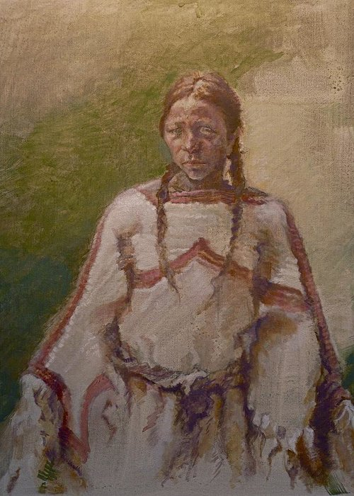 One Wnative American Greeting Card featuring the painting Lakota Woman by Ellen Dreibelbis