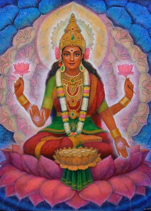 Lakshmi Greeting Card featuring the painting Lakshmi Blessing by Sue Halstenberg