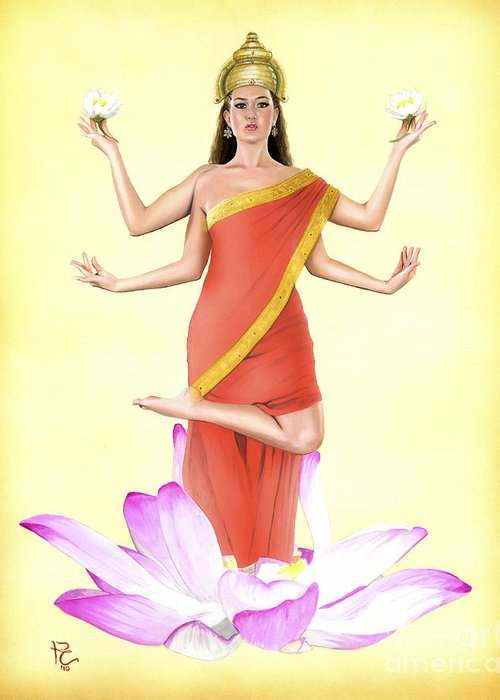 Hindu Greeting Card featuring the painting Lakshmi by Kevin Clark