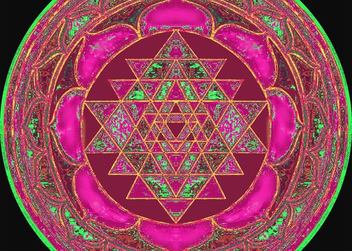 Lakshmi Mandala Greeting Card featuring the painting Lakshmi Yantra Mandala by Svahha Devi