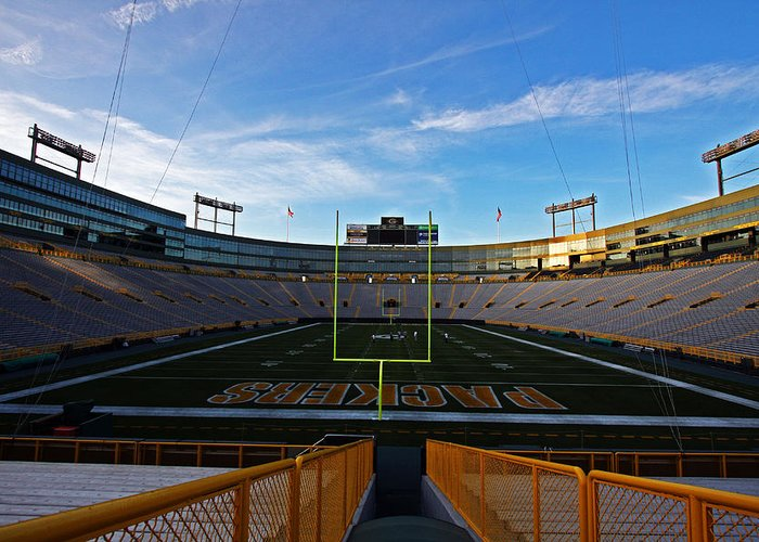 Green Bay Greeting Card featuring the photograph Lambeau Endzone Two by Ty Helbach