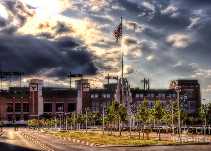Lambeau Field Greeting Card featuring the photograph Lambeau Field Awakes by Joel Witmeyer