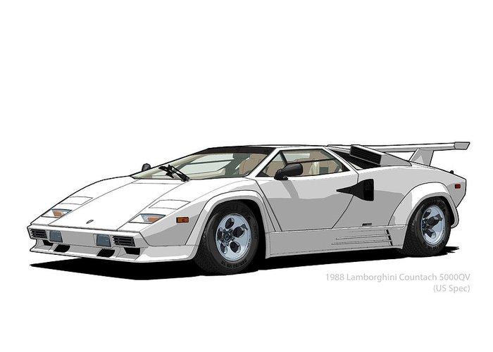 Lamborghini Countach 5000qv Bianco Polo Park Us Spec Greeting Card