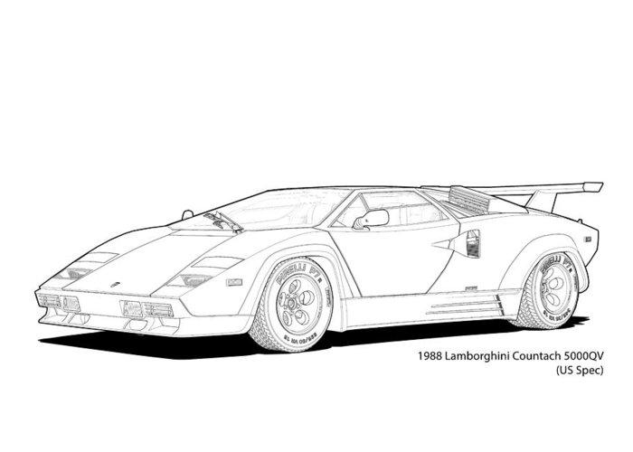 Lamborghini Countach 5000qv Us Spec Line Illustration Greeting Card