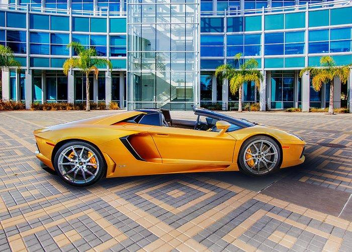 lamborghini Aventador Greeting Card featuring the photograph Lamborghini Gold by Lynn Davis