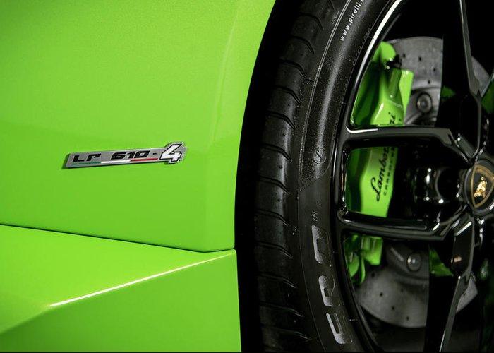 Lamborghini Huracan Lp Badge Verde Mantis Greeting Card For Sale By