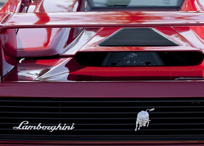 Lamborghini Greeting Card featuring the photograph Lamborghini Rear View by Jill Reger