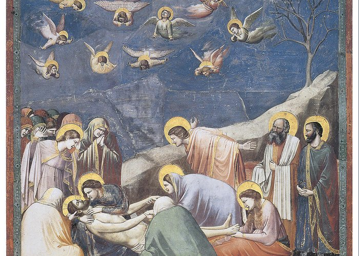 Giotto Di Bondone Greeting Card featuring the painting Lamentation by Giotto Di Bondone