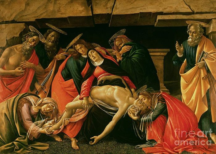 Lamentation Greeting Card featuring the painting Lamentation Of Christ by Sandro Botticelli
