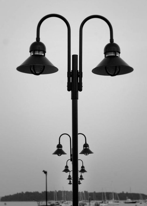 Lamp Posts Greeting Card featuring the photograph Lamp Posts by Filipe N Marques