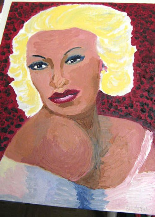 Portrait Of Lana Turner Greeting Card featuring the painting Lana by Caroline Lifshey