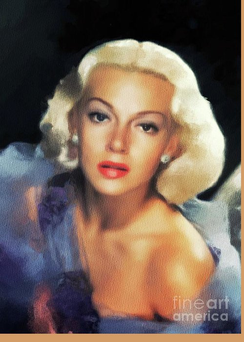 Lana Greeting Card featuring the painting Lana Turner, Hollywood Legend by Mary Bassett