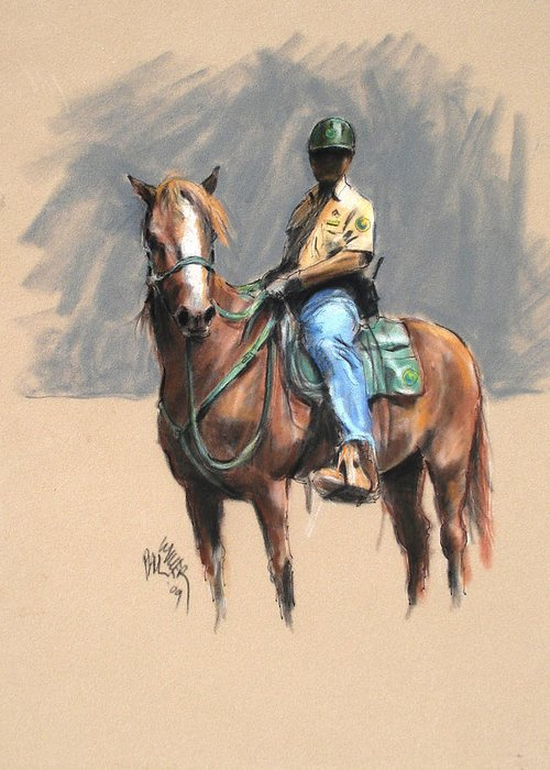 Morgan Horse Ranch Horse Greeting Card featuring the painting Lance With National Park Service Volunteer Aboard by Paul Miller