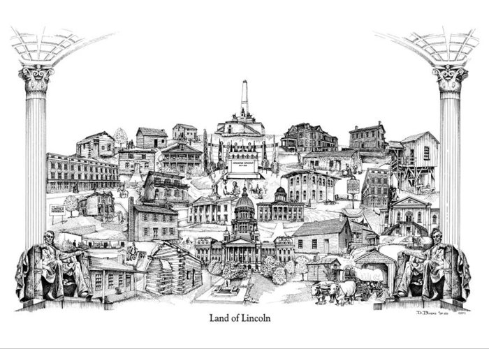 City Drawing Greeting Card featuring the drawing Land Of Lincoln by Dennis Bivens