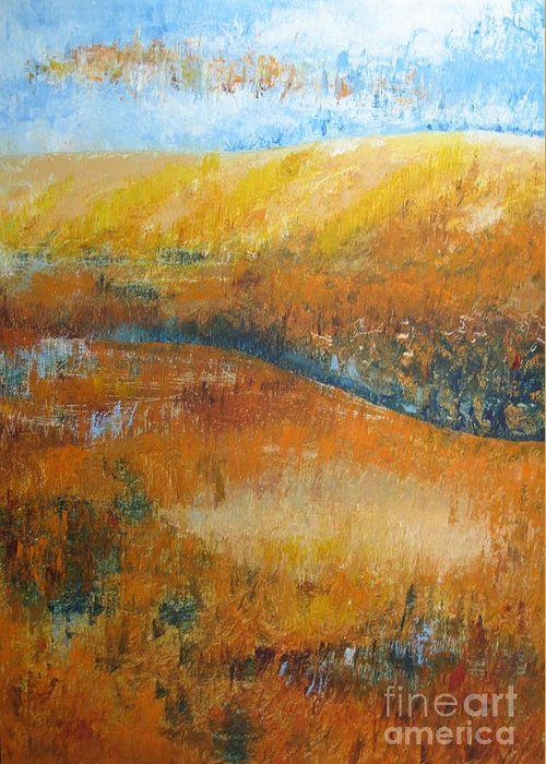 Landscape Greeting Card featuring the painting Land Of Richness by Stella Velka