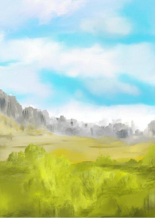 Landscape Greeting Card featuring the digital art Landscape 040710 by David Lane