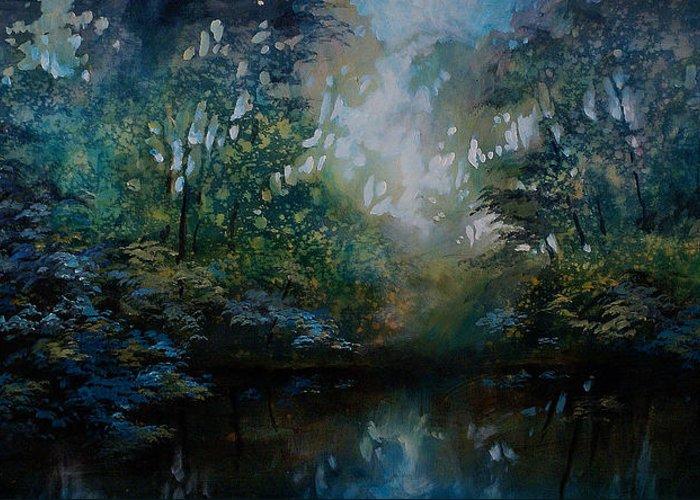 Original Landscape Painting Greeting Card featuring the painting Landscape 2 by Michael Lang