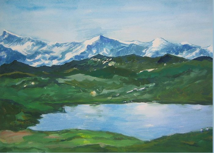 Landscape Greeting Card featuring the painting Landscape 36 by Min Wang