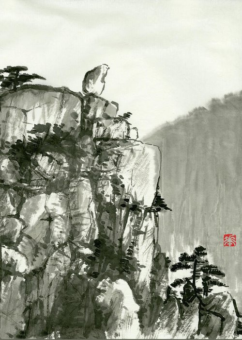 Huangshan Greeting Card featuring the painting Landscape - 77 by River Han