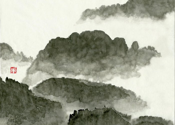 Huangshan Greeting Card featuring the painting Landscape - 80 by River Han