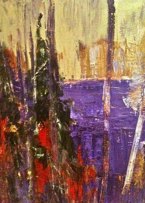Landscape Greeting Card featuring the painting Landscape Abstract In Purple by Mary-Lynn Bastian