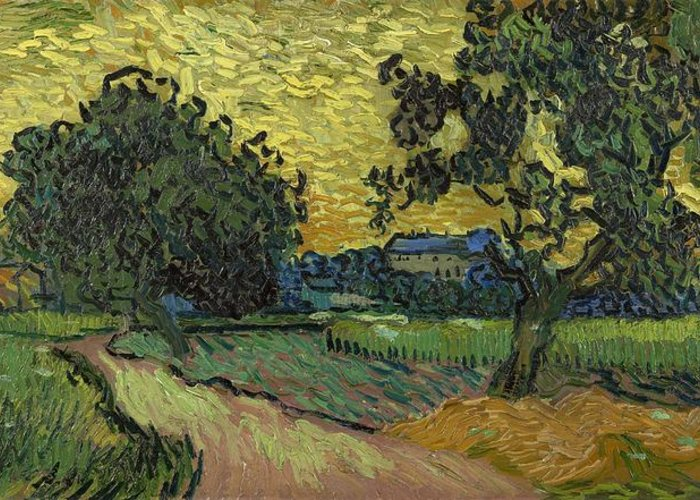 Nature Greeting Card featuring the painting Landscape At Twilight Auvers Sur Oise June 1890 Vincent Van Gogh 1853 189 by Artistic Panda