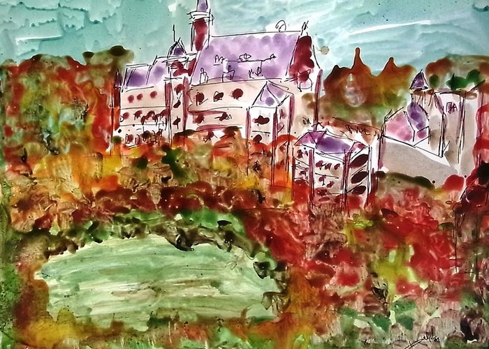 Abstract Landscape Greeting Card featuring the painting Landscape by Baljit Chadha