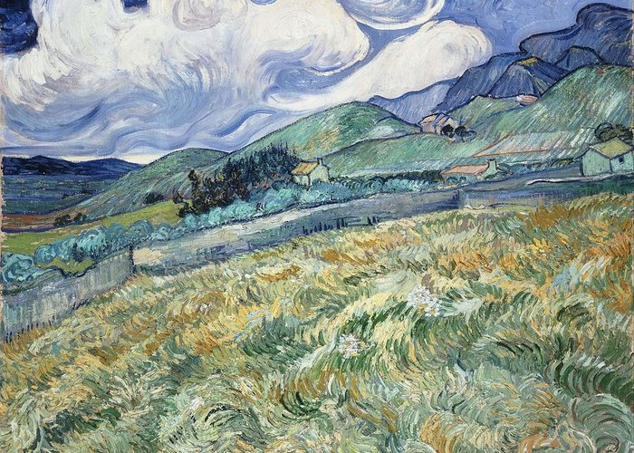 Art Greeting Card featuring the painting Landscape From Saint Remy At Wheat Fields Van Gogh Series  By Vincent Van Gogh by Artistic Panda