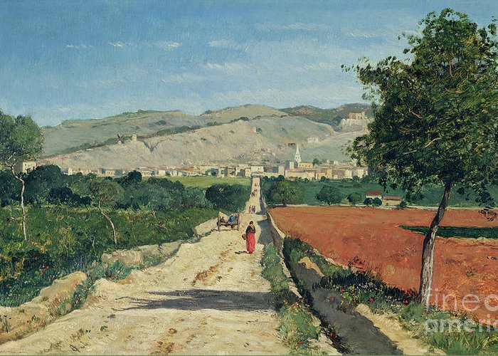 Fields Greeting Card featuring the painting Landscape In Provence by Paul Camille Guigou