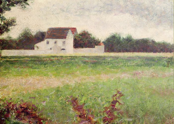 Seurat Greeting Card featuring the painting Landscape In The Ile De France by Georges Pierre Seurat