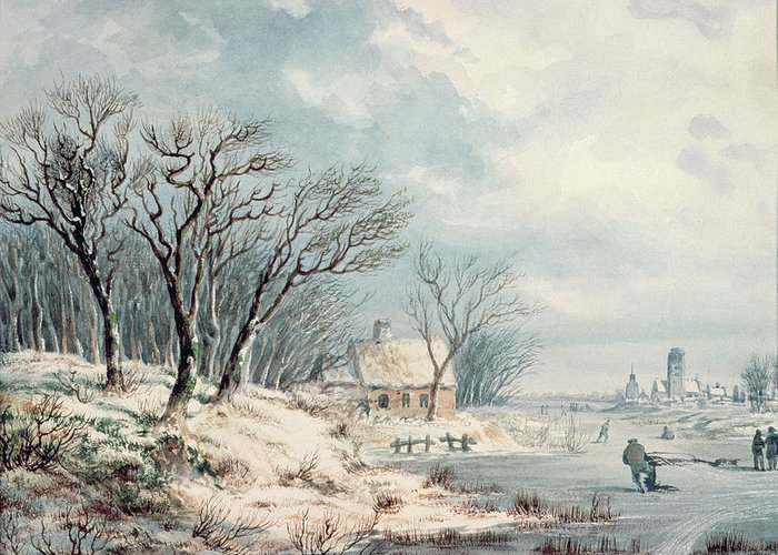 Landscape Greeting Card featuring the painting Landscape In Winter by JJ Verreyt